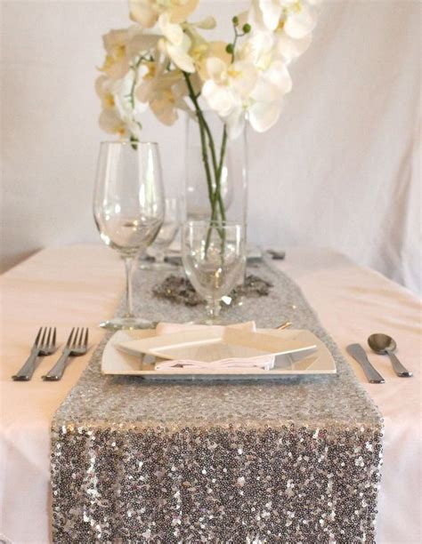 sparkling sequin table runner  silver  wide