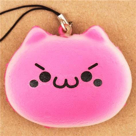 faulty hot pink cat bread roll squishy cellphone charm
