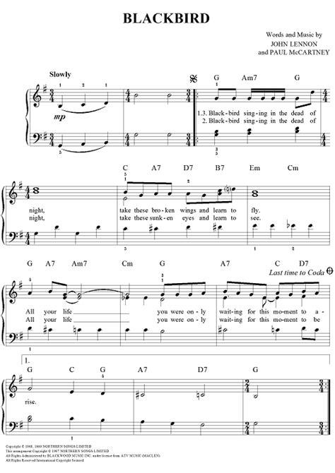 blackbird easy piano  images easy piano sheet