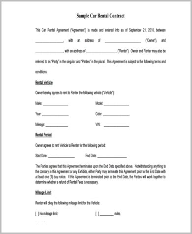 sample sublease contract form  examples  word