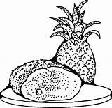 Ham Clipart Pineapple Coloring Clip Ananas Kolorowanki Dla Transparent Dzieci Drawing Pizza Abacaxi Jambon Aigre Porc Doux Svg I2clipart Domain sketch template