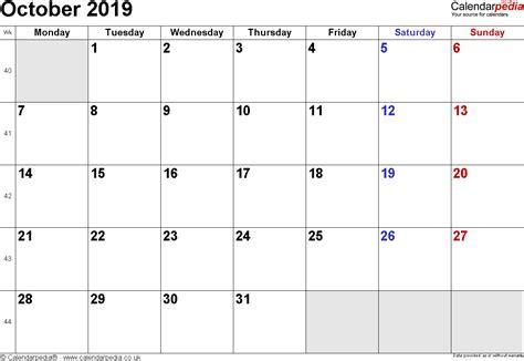 calendar october uk bank holidays excelpdfword templates
