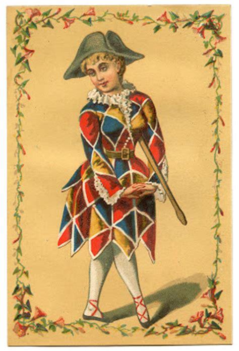 vintage image harlequin clown girl mardi gras