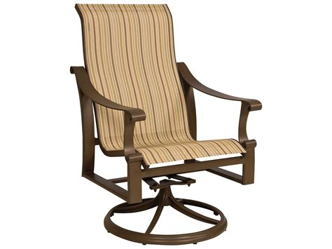 Slingback Patio Chairs That Rock by Woodard Bungalow Sling Aluminum High Back Swivel Rocker
