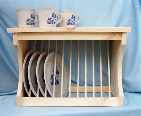 Plate-rack-wood-wooden-wall-mount-or-counter-new-free