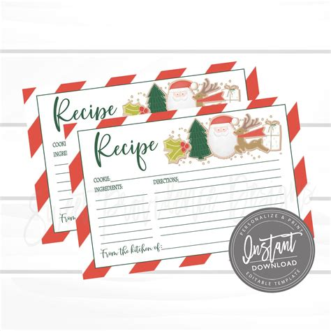 Christmas Cookie Exchange Recipe Card Editable Christmas