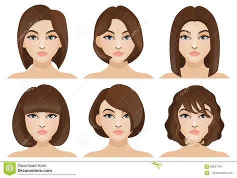 Girls With Short Hair Stock Vector. Illustration Of Brown