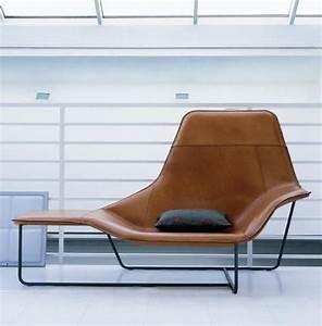 chaise longue lama gainee de cuir pour zanotta mobilier With canapé chaise longue cuir