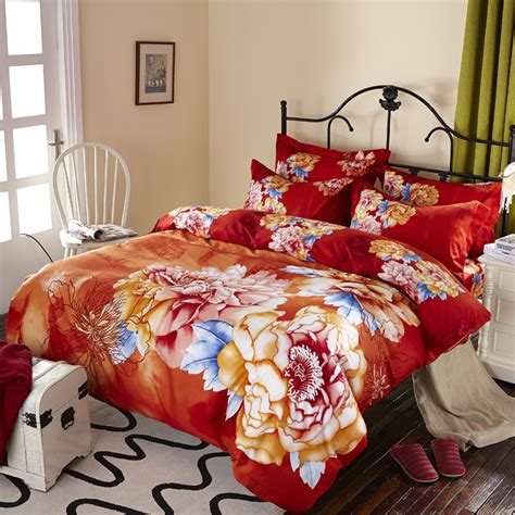 orange duvet cover king and orange floral peony watercolor