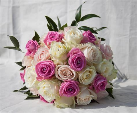 Two Colors Pink And White Wedding Bouquets Bridal Bouquets