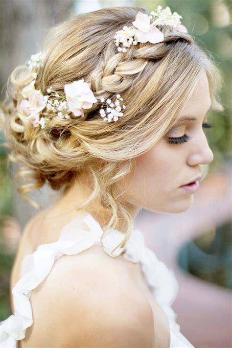 braided crown hairstyle  wedding day  flowers   bun women hairstyles