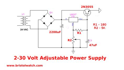 adjustable lm317 2 30 volt power supply