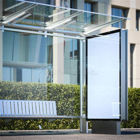 Moderne Bushaltestelle Mit Leerer Anschlagtafel Wiedergabe