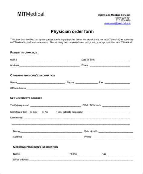 medical order forms   word  format
