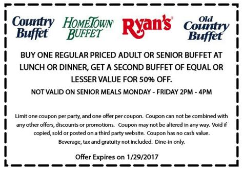 Second buffet 50% off at Ryans, HomeTown Buffet & Old ...