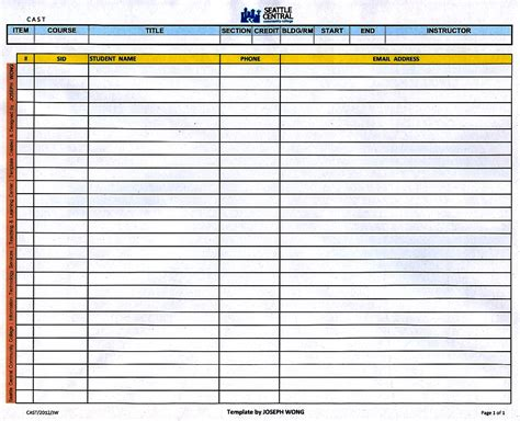 Template Class C Class Attendance Roster Template Pictures To Pin On