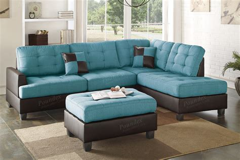 Turquoise Leather Sectional Sofa Keegan 90 2 Piece Fabric