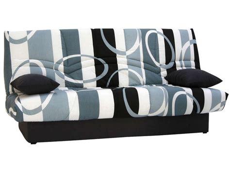 conforama canapé lit clic clac banquette clic clac en tissu coloris gris noir