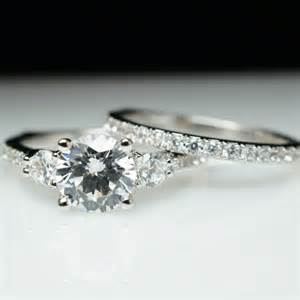 engagement rings 3 diamonds beautiful 3 solitaire engagement ring wedding band complete bridal set