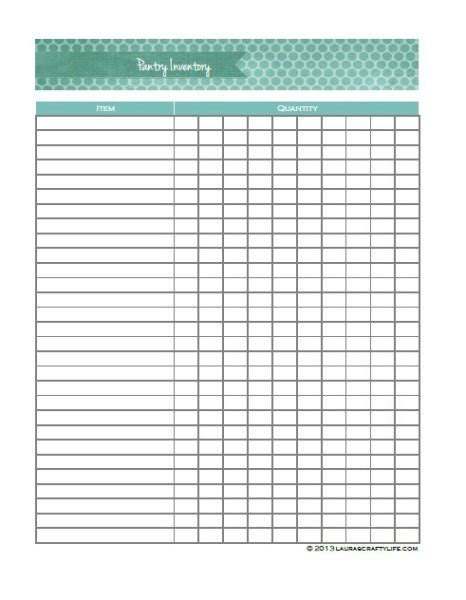 Printable Pantry Inventory Sheet
