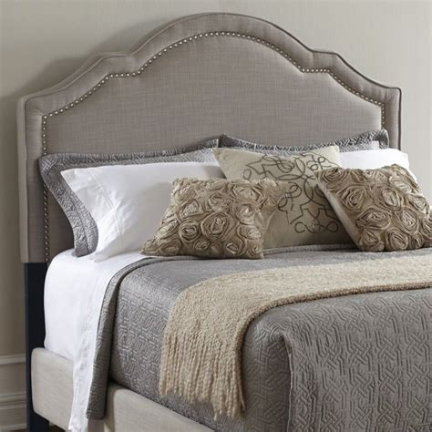 pri upholstered nailhead king headboard  taupe ds