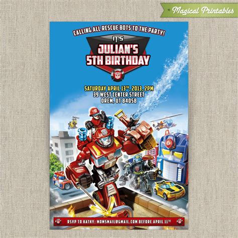 Alized Transformers Rescue Bots  Ee  Birthday Ee   Invitation Card