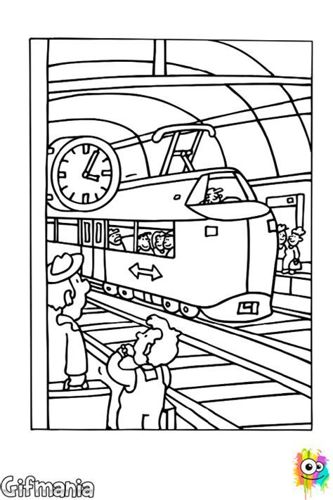 dibujo de estacion de ferrocarril  colorear