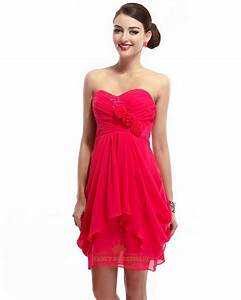 Hot Pink Sweetheart Bridesmaid Chiffon Dress With Applique ...