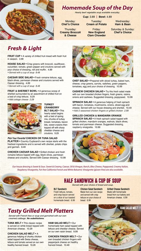 Country Cupboard Restaurant Menu by Country Cupboard Lunch Dinner