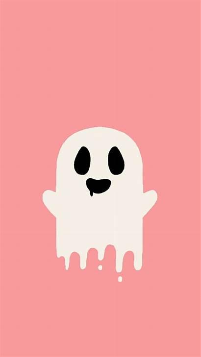 Wallpapers Halloween Iphone Kawaii Backgrounds Ghost Aesthetic