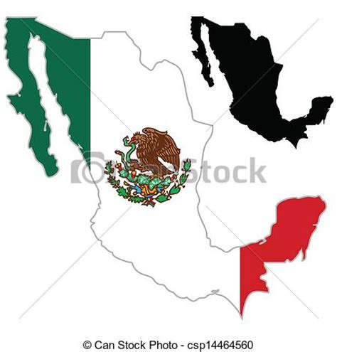 clip art vector  mexico map flag   white background