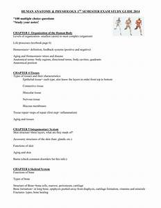 Human Anatomy  U0026 Physiology 1st Semester Exam Study Guide