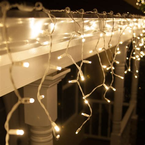 70 5mm Led Icicle Lights, Warm White, White Wire  Yard Envy