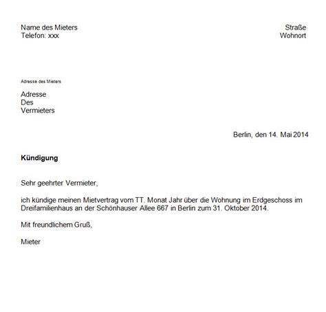 Vermieter Mietvertrag Kündigen by K 252 Ndigung Eines Mietvertrages Mit Vorlage Ganz Einfach