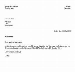 Kündigung Mietvertrag Vorlage Mieter : k ndigung eines mietvertrages mit vorlage ganz einfach giga ~ Buech-reservation.com Haus und Dekorationen