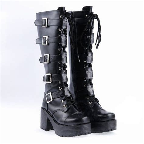 Demonia Black Leather Boots High Heel Punk Gothic Rock