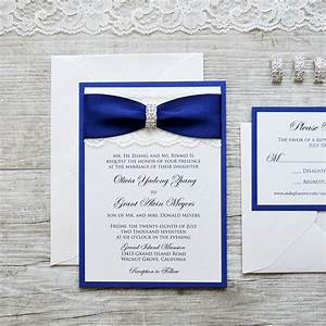 olivia ivory lace wedding invitation with royal navy With elegant wedding invitations with rhinestones and lace