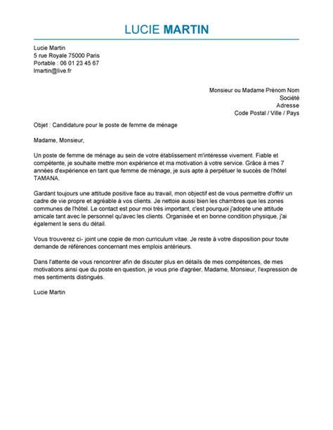 lettre motivation femme de chambre hotel lettre de motivation femme de ménage exemple lettre de