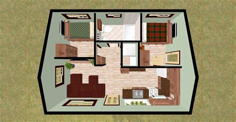 two bedroom home cozyhomeplans com 432 sq ft small house quot firefly quot 3d top