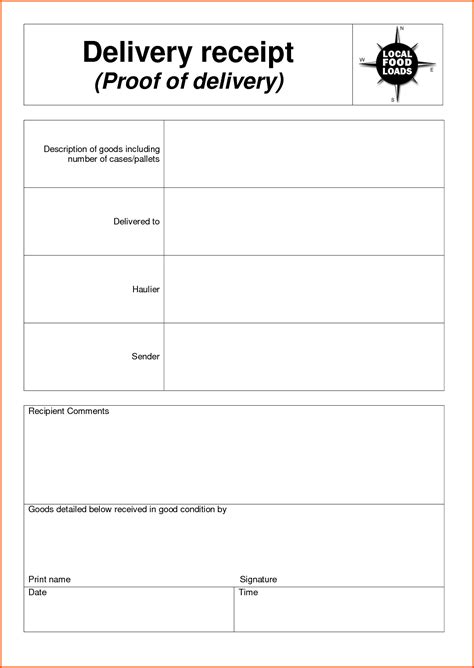 delivery receipt template survey template words