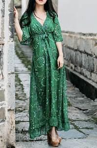 Robe Longue Style Boheme : robe mi longue imprimee vert boho boheme chic d0759 ~ Dallasstarsshop.com Idées de Décoration