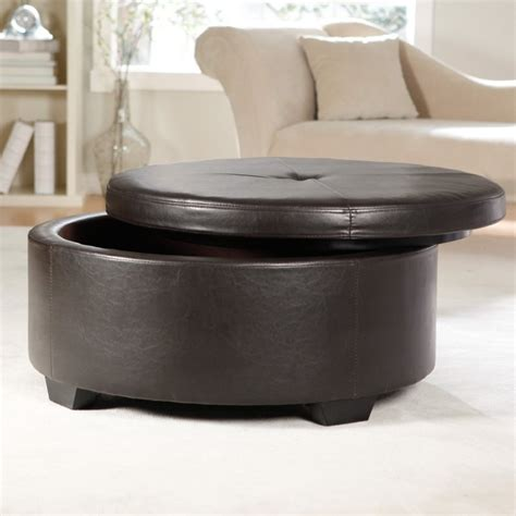 round ottoman coffee table light gray leather swivel ottoman using round chrome metal