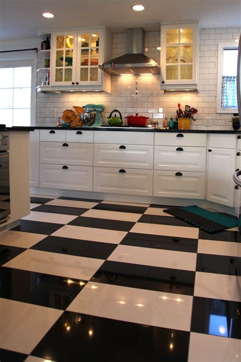 black and white kitchen floors dot the big kitchen reveal before and after 7855