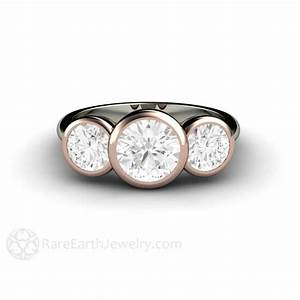 Moissanite Engagement Ring 3 Stone Bezel Setting with Two ...