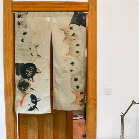 85cm x 120cm so many cats modern japanese door curtain
