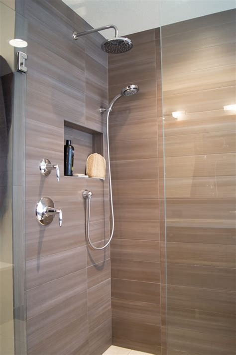 Two Shower Bathroom by Highlands Ranch Modern Bath Remodel Davinci Remodeling