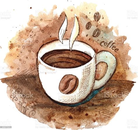 Make coffee watercolor clipart sweets cups making coffee   etsy. Hand Drawn Watercolor Coffee Cup Stock Vector Art & More Images of 2015 533477341   iStock