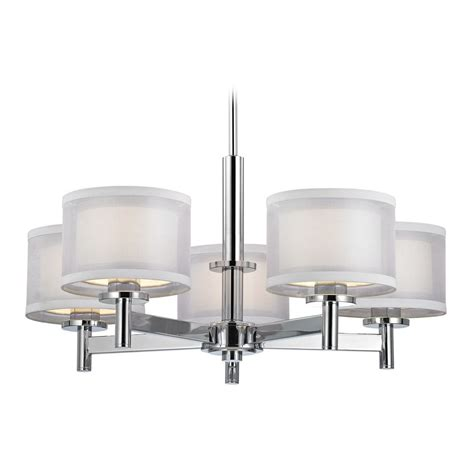 modern chandelier with white shades in chrome finish