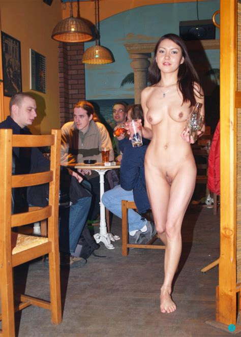 She S A Naked Waitress In A Bar Nudeshots