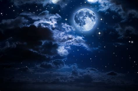 Download 2560x1700 Moon, Clouds, Stars, Night Wallpapers